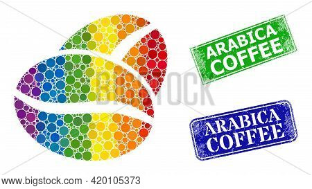 Spectral Colored Gradiented Circle Collage Coffee Bean, And Arabica Coffee Grunge Framed Rectangle S