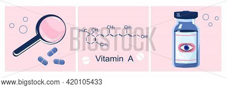 Vitamin A With Chemical Formula. Retinol, Beta Carotene. Anti Aging Complex Pills.magnifier With Med