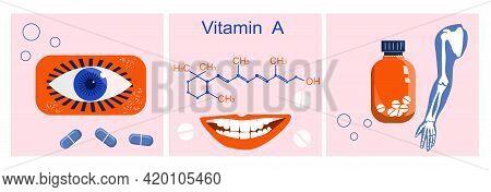 Vitamin A With Chemical Formula. Retinol, Beta Carotene. Anti Aging Complex Pills.nutrition For Bone