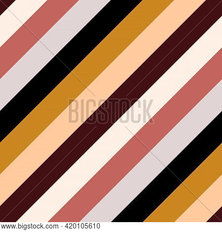 Seamless Abstract Boho Striped Pattern. Pastel Nude Background. Gold, Burgundy, Yellow, Beige Lines