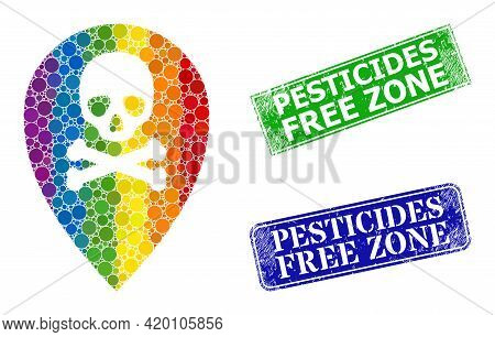 Spectrum Colorful Gradiented Circle Mosaic Dead Place Marker, And Pesticides Free Zone Unclean Frame