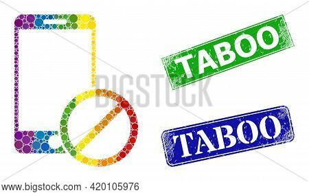 Spectrum Colorful Gradient Circle Collage Deny Smartphone, And Taboo Textured Framed Rectangle Stamp