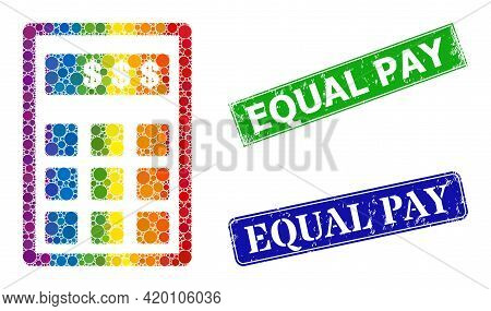 Spectral Colored Gradient Rounded Dot Mosaic Dollar Calculator, And Equal Pay Grunge Framed Rectangl