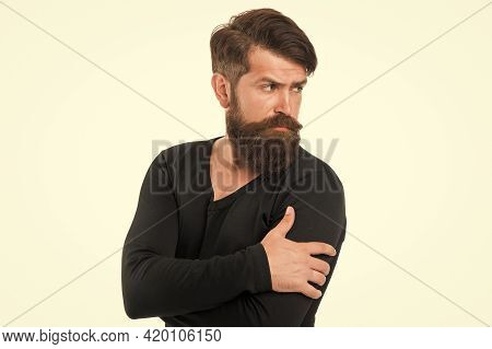 Feeling Casual. Bearded Mature Hipster. Autumn Male Fashion. Brutal Man After Hairdresser Or Barber.