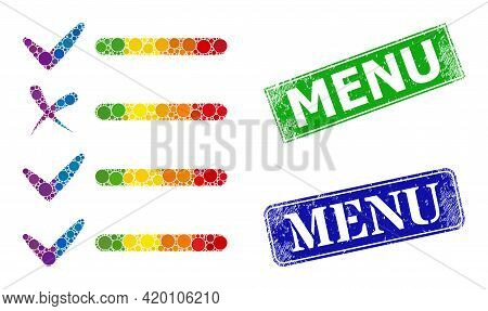 Rainbow Colorful Gradiented Round Dot Mosaic Exam List, And Menu Dirty Framed Rectangle Stamps. Blue