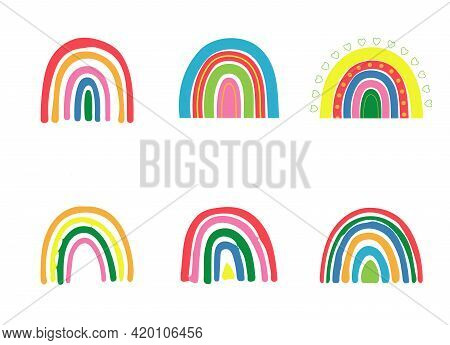 Abstract Vector Rainbow Set. Hand Drawn Rainbows In Minimalist Scandinavian Style. Cartoon Rainbow D