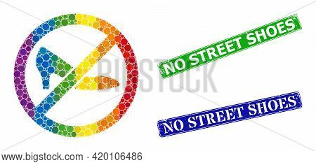 Rainbow Colorful Gradient Circle Collage Forbidden Shoes, And No Street Shoes Rubber Framed Rectangl