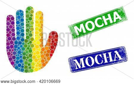 Spectrum Vibrant Gradiented Rounded Dot Collage Hand Palm, And Mocha Grunge Framed Rectangle Stamp S