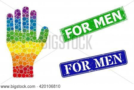 Spectrum Colored Gradiented Round Dot Collage Human Hand, And For Men Dirty Framed Rectangle Stamp S