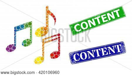 Spectrum Colored Gradient Circle Mosaic Melody Notes, And Content Grunge Framed Rectangle Stamp Seal