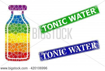 Rainbow Colorful Gradiented Circle Mosaic Milk Bottle, And Tonic Water Unclean Framed Rectangle Seal