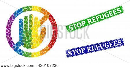 Spectral Colored Gradient Circle Collage No Hand, And Stop Refugees Scratched Framed Rectangle Stamp