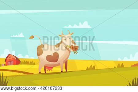 Cow And Calf Ranch Farmland Funny Cartoon Poster With Farm House On Background And Grazing Cattle Ve