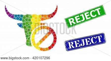 Rainbow Vibrant Gradiented Round Dot Mosaic Reject Beef, And Reject Textured Framed Rectangle Stamp