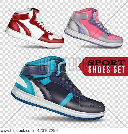Collection Of Colored Sport Shoes On Transparent Background In Realistic Style For Advertising In Wh