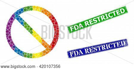 Spectrum Colored Gradient Circle Mosaic Restricted, And Fda Restricted Dirty Framed Rectangle Waterm