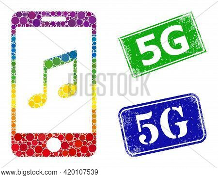 Rainbow Colored Gradient Rounded Dot Collage Smartphone Music, And 5g Dirty Framed Rectangle Stamps.