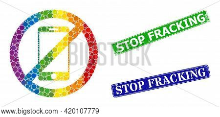 Rainbow Colorful Gradient Circle Mosaic Stop Smartphone, And Stop Fracking Unclean Framed Rectangle