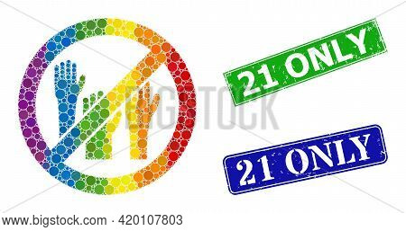 Rainbow Vibrant Gradiented Round Dot Mosaic Stop Voting Hands, And 21 Only Unclean Framed Rectangle