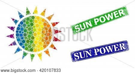 Rainbow Colored Gradient Round Dot Collage Sun, And Sun Power Unclean Framed Rectangle Stamp Seals.