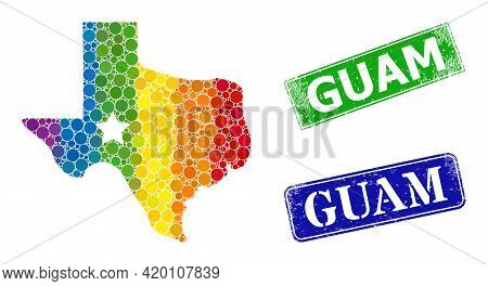 Spectrum Colorful Gradient Circle Mosaic Texas Map Logo, And Guam Rubber Framed Rectangle Watermarks