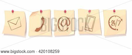 Contact Us Retro Cartoon Concept With Paper Sheets On Tacks With Support Service Icons Isolated Vect
