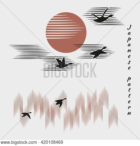 Ducks, Geese Fly Into Bright Sun.autumn Forest, Clouds In Sky On White Background With Black Birds.