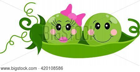 Scalable Vectorial Representing A Two Infant Baby Peas In A Pod, Element For Design, Illustration Is