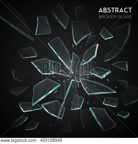 Broken Glass Shatters Various Geometric Forms Sharp Pieces Spreading And Flying Apart On Black Backg