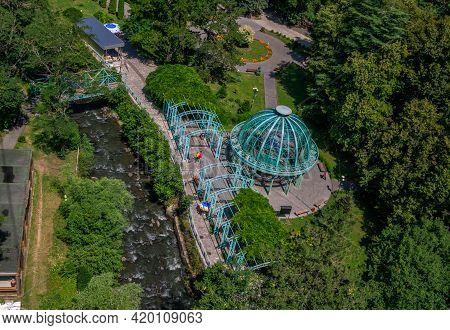 Borjomi/georgia - July 17, 2019: Top View Of Famous Georgian Mineral Water - Borjomi - Hot Source Un