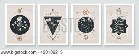 Abstract Contemporary Art With Celestial Geometry Shapes. Esoteric Mystical Celestial Botanical Sacr