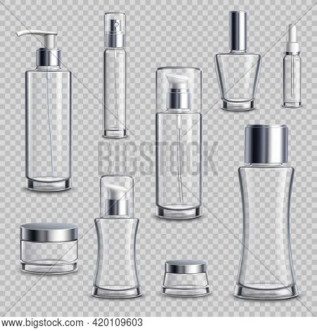 Cosmetics Skincare Empty Glass Package Samples Assortment Realistic Set Wth Spray Bottles On Transpa