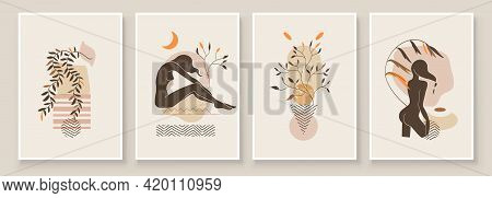 Abstract Composition Art With Nude Woman In Leaves. Earth Tones Colors Wall Art Decor. Soft Color Pa