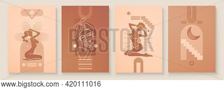 Abstract Composition Art With Nude Female Silhouette In Sunrise Or Sunset. Earth Tones Colors Wall A