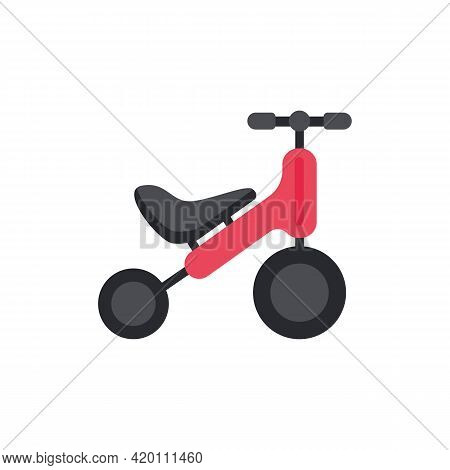 Childrens Bike Without Pedals Or Runovel, Flat Vector Illustration Isolated.