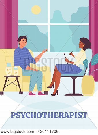 Woman Psychotherapist Talking With Unhappy Young Man Having Mental Problem.