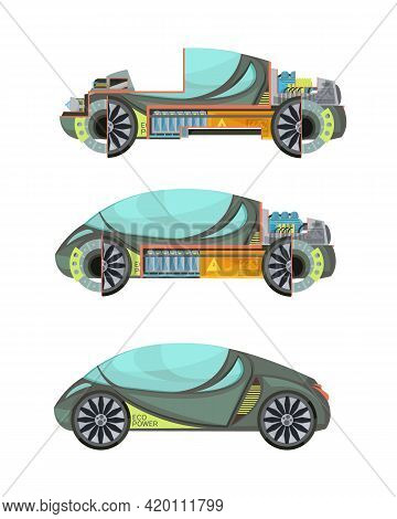 Colorful Eco Friendly Electro Cars Set Isolated On White Background Vector Illustration