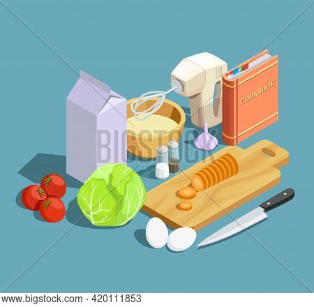 Cooking Icons Isometric Composition With Cumbersome Products Ripe Vegetables Whipper Knife With Cutt
