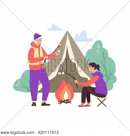 Tourists Resting In Campsite Near Campfire, Flat Vector Illustration Isolated.