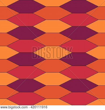 Seamless Pattern. Oriental Traditional Ornamentation. Hexagon, Picket Shapes Wallpaper. Repeated Pic