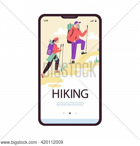 Vector Illustration Isolated On White Background. Onboarding Page Of Mobile App For Hiking Tourists