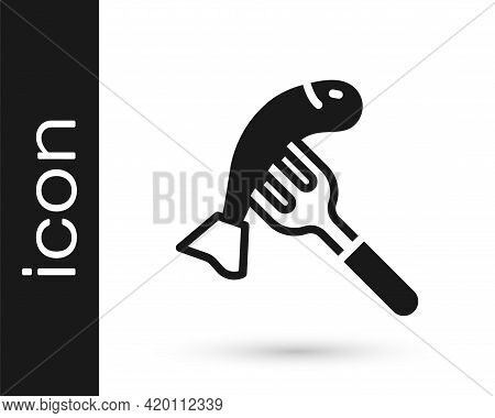 Black Served Fish On A Plate Icon Isolated On White Background. Vector