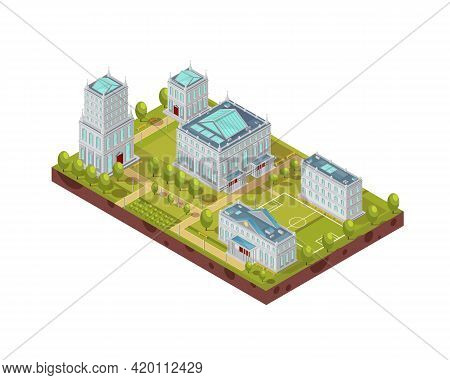 Complex Of University Buildings With Football Field, Green Trees, Benches And Walkways Isometric Lay