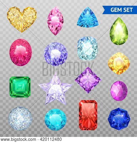 Colored Realistic And Isolated Gemstones Transparent Icon Set Precious Stones Shimmer And Shine Vect