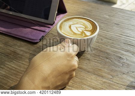 Morning Coffee Latte On Wood Desk Work From Home Office, Stock Photo