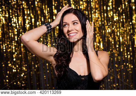 Portrait Of Charming Cheerful Girl Hands Touch Hair Look Interested Empty Space Isolated On Decorate