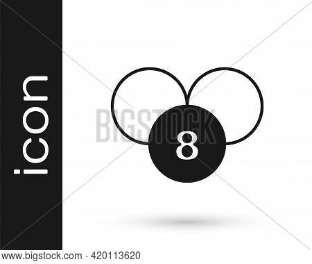 Black Bingo Or Lottery Ball On Bingo Card With Lucky Numbers Icon Isolated On White Background. Vect