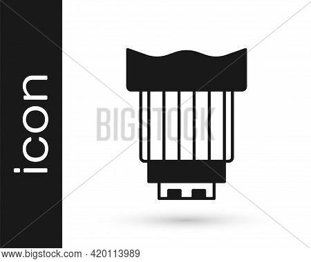 Black Camera Photo Lens Icon Isolated On White Background. Vector