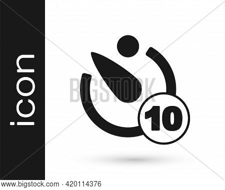 Black Camera Timer Icon Isolated On White Background. Photo Exposure. Stopwatch Timer 10 Seconds. Ve