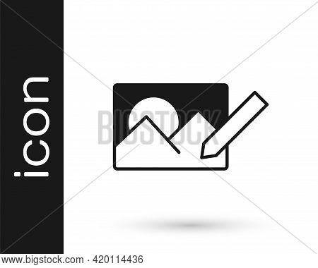 Black Photo Retouching Icon Isolated On White Background. Photographer, Photography, Retouch Icon. V